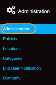 Screenshot of the Administrators menu