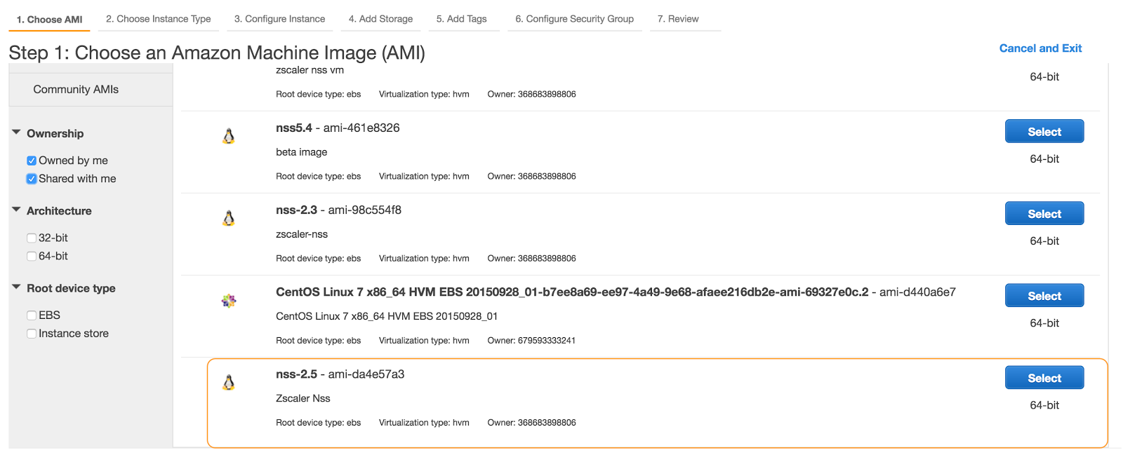 Nss deployment guide for aws zscaler screenshot of nss 25 ami listed in my amis tab altavistaventures Gallery