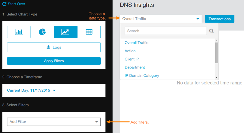 Screenshot of Data Type and Filters menus for Zscaler DNS Insights