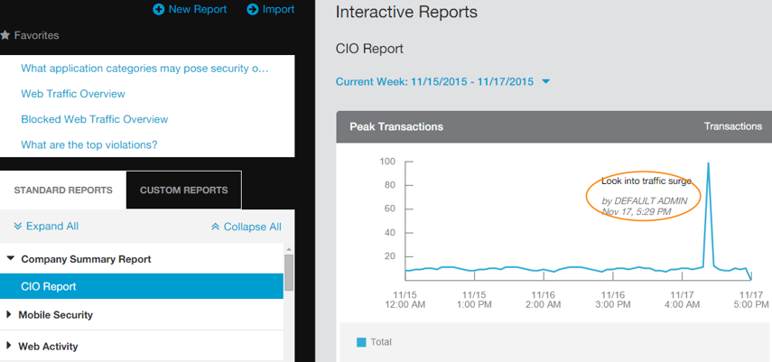 Screenshot of notes on Zscaler Interactive Reports
