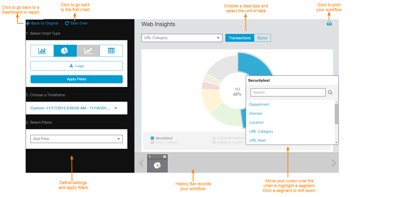 Screenshot of Zscaler Web Insights window tasks