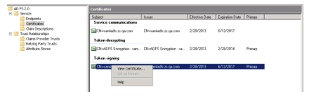 Screenshot from ADFS 2.0 Management allowing people to view new certificate