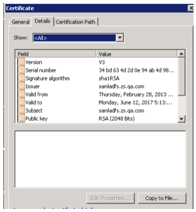 Screenshot showing the details tab of the certificate window