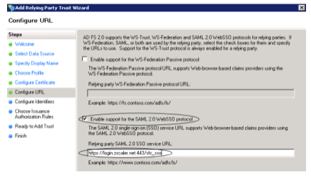 Screenshot from installation wizard about enabling support for the SAML 2.0 WebSSO protocol and what format to use