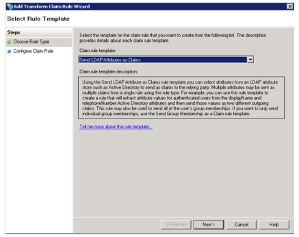 Screenshot from the installation wizard showing to Send LDAP Attributes as Claims