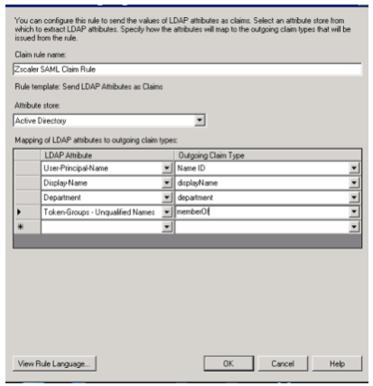 Screenshot from installation wizard showing Token Groups – Unqualified Names from the LDAP Attribute column