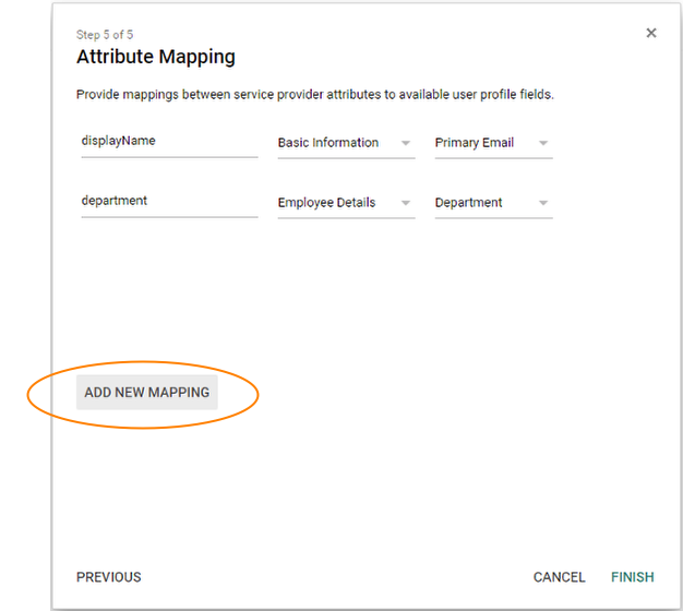 Screenshot showing Attribute Mapping section with Add New Mapping button circled