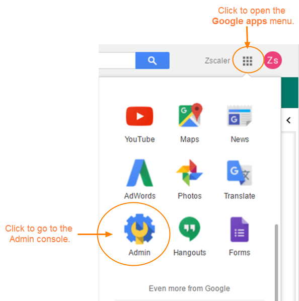 Screenshot showing what button to press in order to open Google Apps