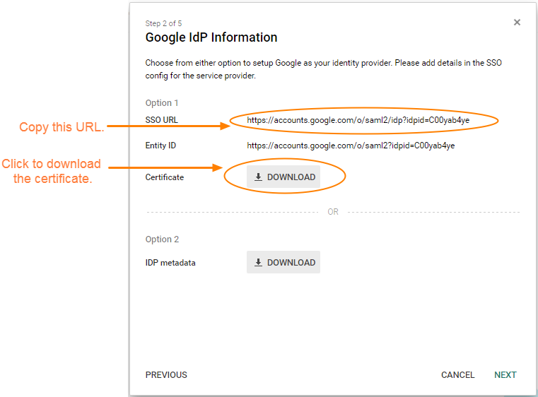 Screenshot showing which URL should be copied over and a link to download the security certificate