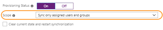Screenshot showing the Sync only assigned users and groups