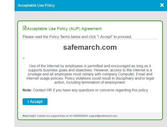 screenshot showing that the acceptable use policy template uses green