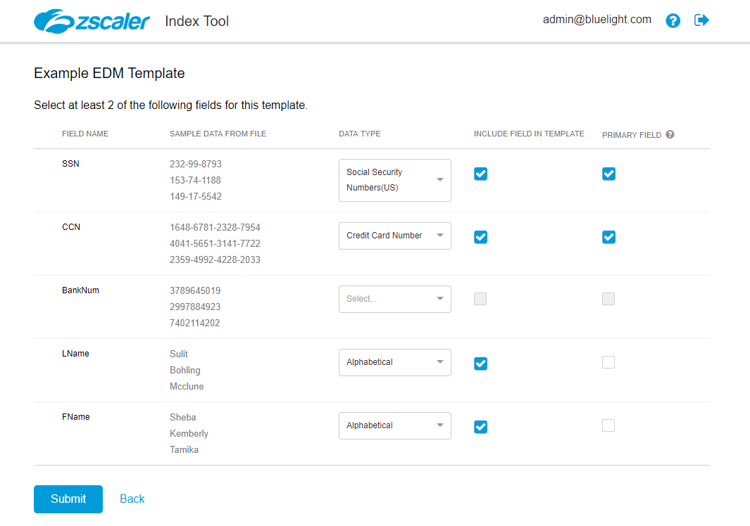 Zscaler Index Tool on EDM Index Template field selection page