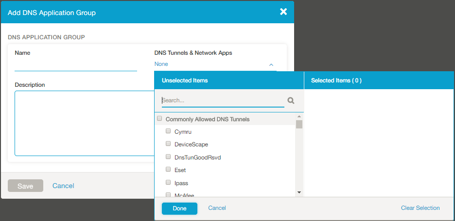Screenshot of the Add DNS Application group with the drop-down menu exposed.
