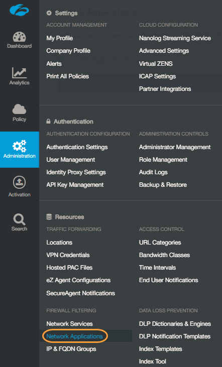 Screenshot of the Administration menu with Network Applications highlighted