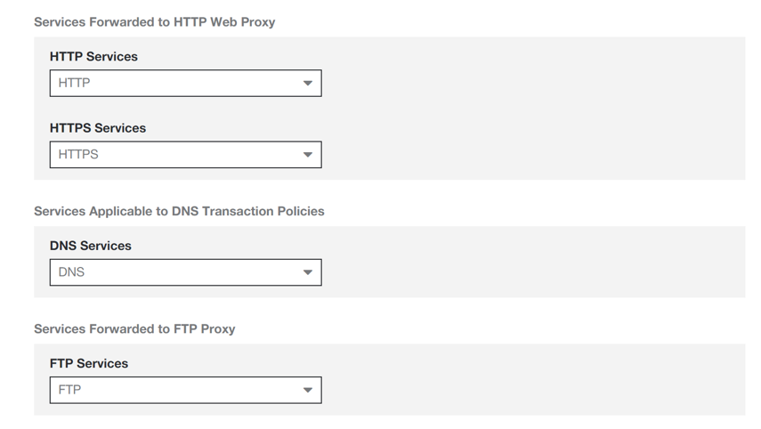 Screenshot of Advanced Settings with fields uses to manage HTTP Web Proxy, DNS Transaction Policies, and Services Forwarded to FTP Proxy