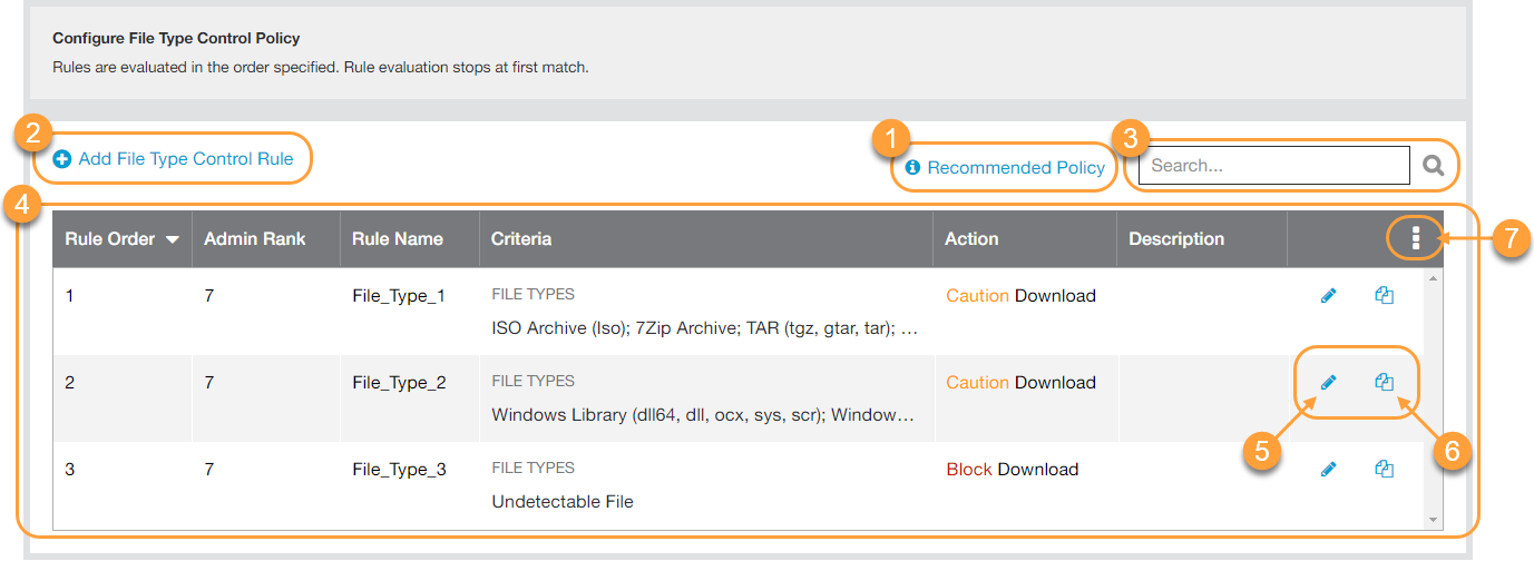 Screenshot of File Type Control page showing buttons and list used to manage Zscaler file type control policies