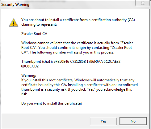 Configuration Guide for Importing Zscaler Root Certificate