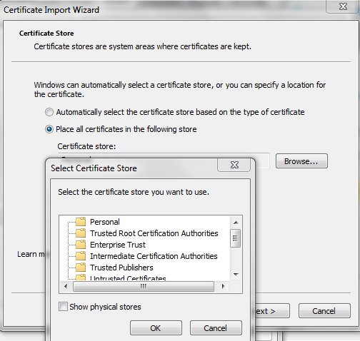 Screenshot of selecting certificate store for Zscaler root certificate