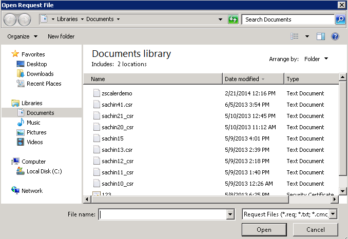 Screenshot of the Open Request File window