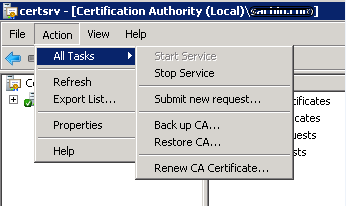 Screenshot of the Certification Authority Submit new request option