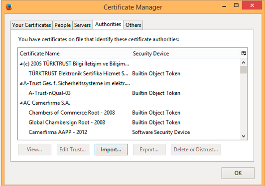 Screenshot of Firefox Certificate Manager window Authorities tab