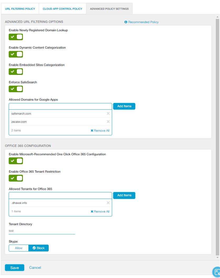 Configuring Advanced URL Policy Settings | Zscaler