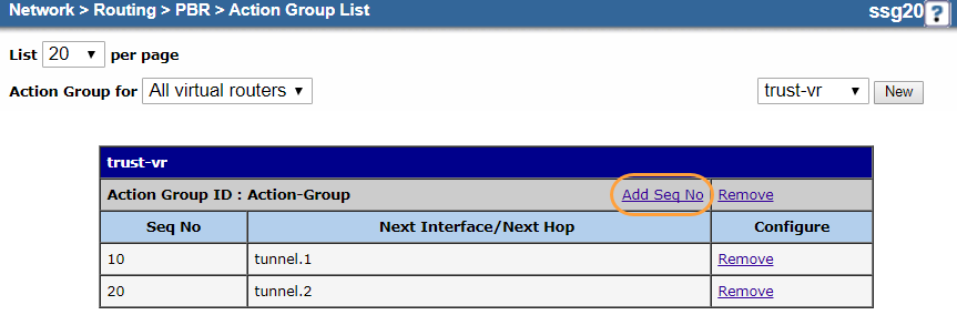Screenshot of the Add Seq No button on the Action Group List page
