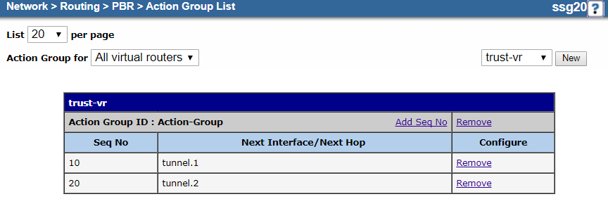 Screenshot of the action group configuration
