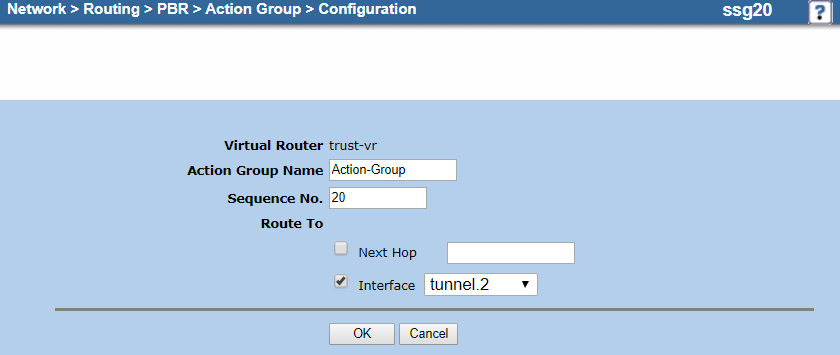 Screenshot of the action group configuration for the backup tunnel interface on the Configuration page
