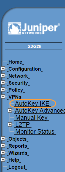 Screenshot of the AutoKey IKE menu in the Juniper WebUI