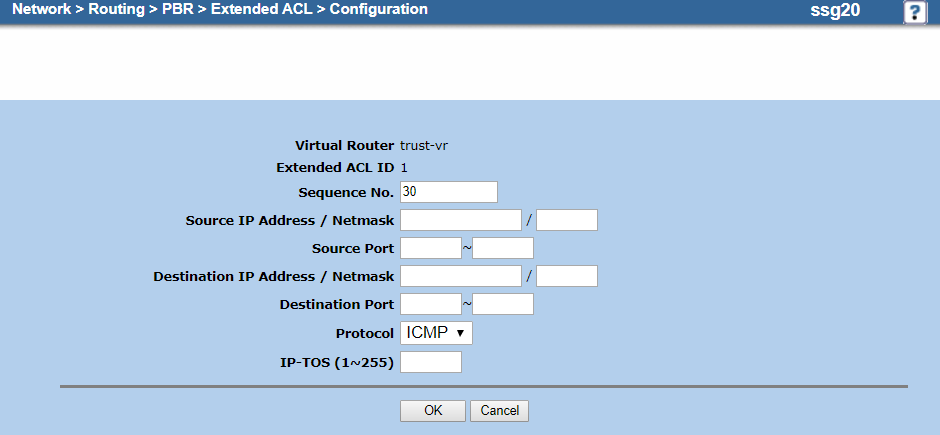 Screenshot of the extended ACL configuration for ICMP traffic on the Configuration page