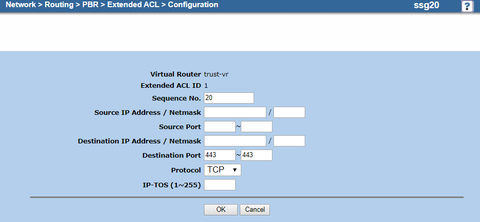 Screenshot of the extended ACL configuration for TCP port 443 on the Configuration page
