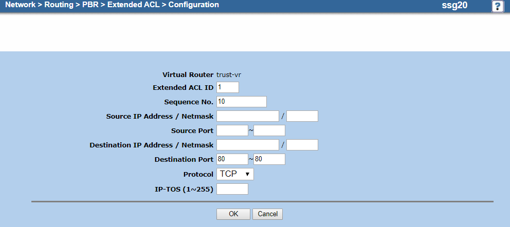Screenshot of the extended ACL configuration for TCP port 80 on the Configuration page