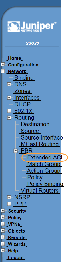 Screenshot of the Extended ACL menu in the Juniper WebUI