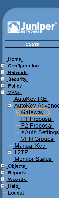 Screenshot of the Gateway menu in the Juniper WebUI