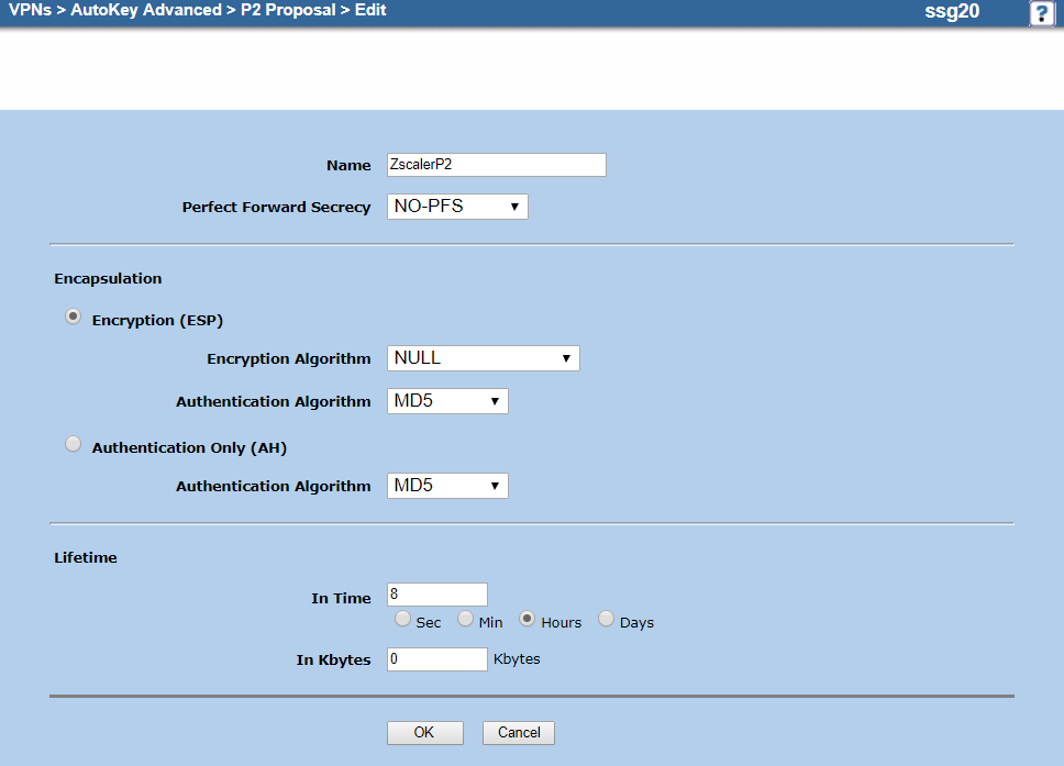 Screenshot of the P2 proposal configuration on the Edit page