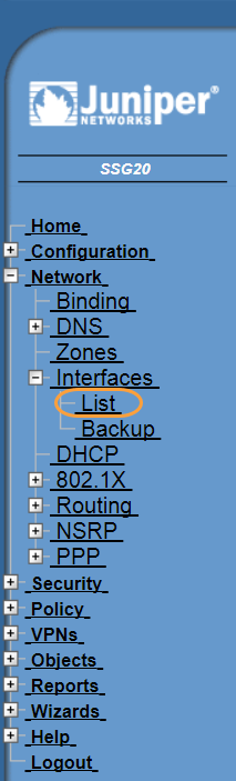 Screenshot of the List menu in the Juniper WebUI