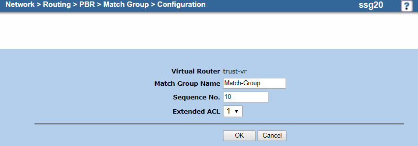 Screenshot of the match group configuration on the Configuration page