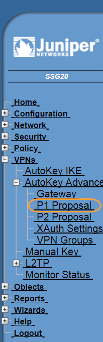 Screenshot of the P1 Proposal menu in the Juniper WebUI