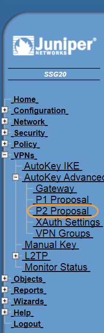 Screenshot of the P2 Proposal menu in the Juniper WebUI