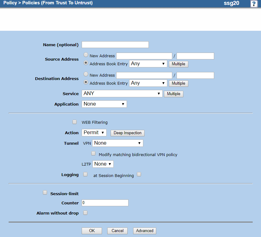 Screenshot of the configured security zone policies on the Policies (From Trust to Untrust) page