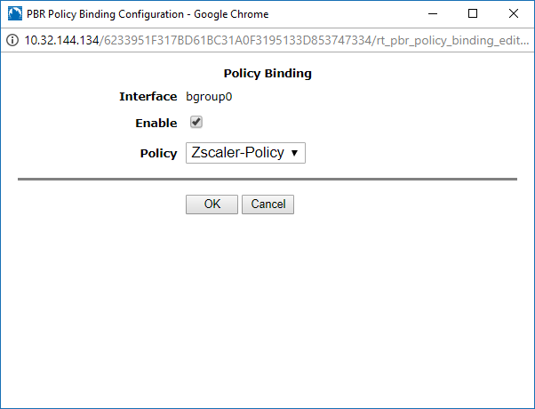 Screenshot of the policy binding configuration in the Policy Binding window