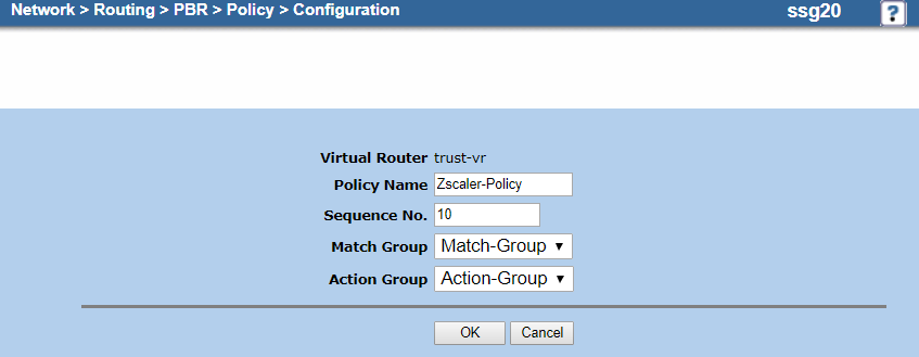 Screenshot of the policy configuration on the Configuration page