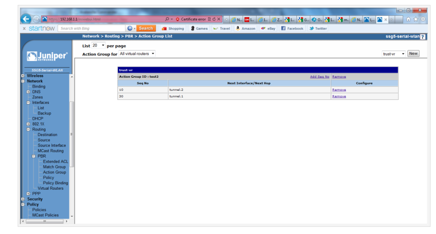 Screenshot of the configured Action Group List in the Juniper SSG5 WebUI.