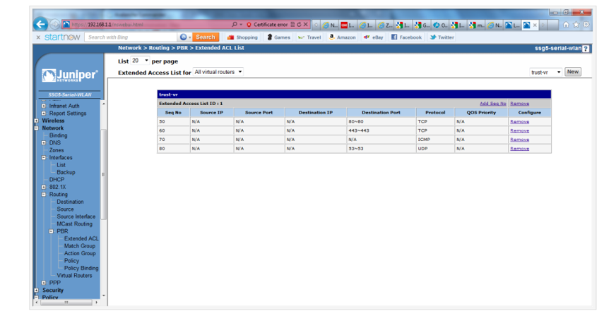 Screenshot of the configured Extended ACL List in the Juniper SSG5 WebUI.