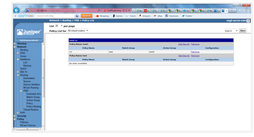 Screenshot of the configured Policy List in the Juniper SSG5 WebUI.
