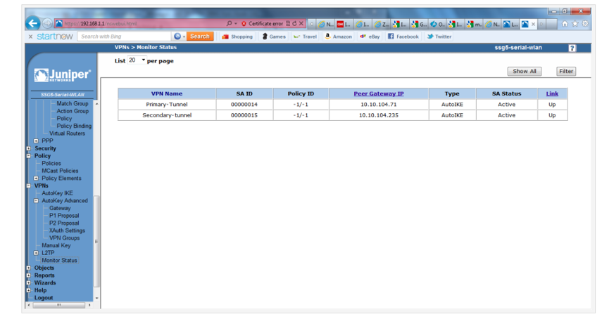 Screenshot of the Monitor Status page in the Juniper SSG5 WebUI.