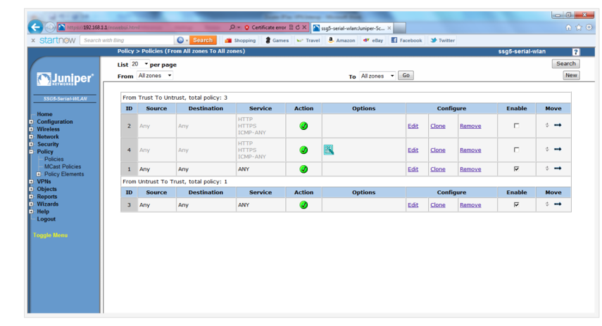 Screenshot of the Policies configuration in the Juniper SSG5 WebUI.