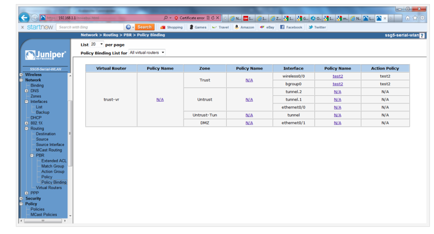 Screenshot of the Policy Binding configuration in the Juniper SSG5 WebUI