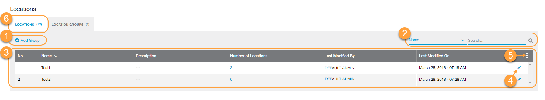 Location Groups Page within the Admin Portal